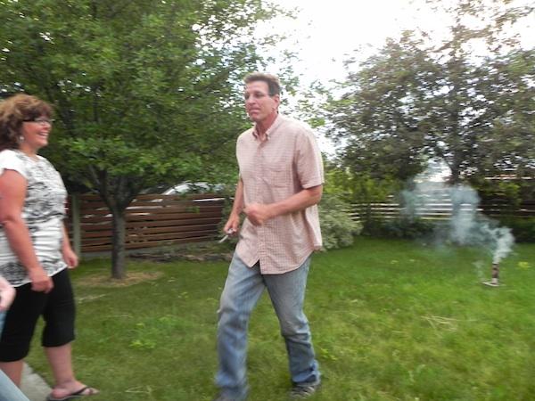 Cowboy runs from fireworks